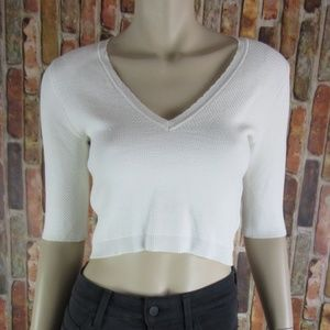 RACHEL ROY Elbow Sleeve Textured Crop Top NEW XS